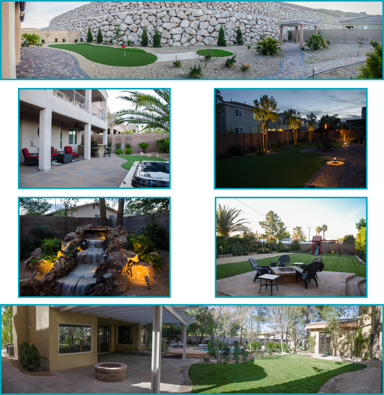Landscape installation. Custom landscape designs include turf, fire pits, low voltage lighting